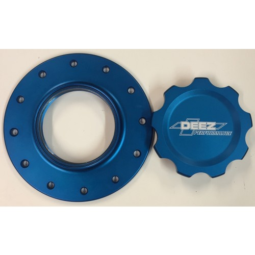 DEEZ Performance 12-Bolt Billet Fuel Cell Cap and Bung Assembly-Blue