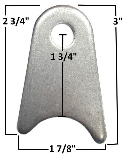"""Chassis Tab, 3/16"""" Steel, 3/8"""" Hole mild steel"""