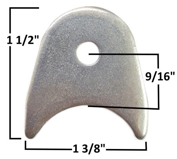"""Radius Tab, 1/8"""" Steel, 1/4"""" Hole mild steel"""