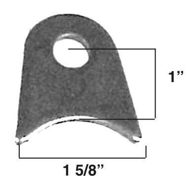 """Radius Tab, 3/16"""" Steel, 1/2"""" Hole 2"""" Tall 4/pack mild steel"""