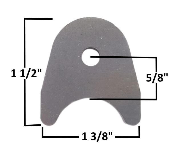 "Chassis Tab, 1/8"" Steel, 1/4"" Hole, Fits 1""Tubing mild steel"