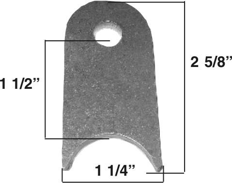 """Chassis Tab 3/16"""" steel, 3/8"""" hole 2 5/8"""" Tall mild steel,"""