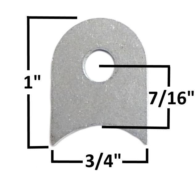 """Chassis tab, 1/8"""" steel, 1/4"""" hole mild steel"""