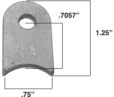 """Mounting Tab, 1/8"""" Steel, 1/4"""" hole 4/pack mild steel"""
