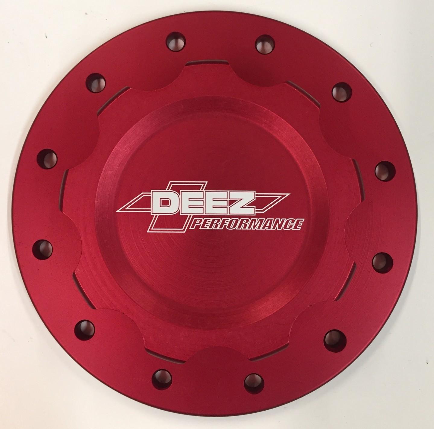 DEEZ Performance 12-Bolt Billet Aluminum Fuel Cell Cap & Bung Assembly-Red
