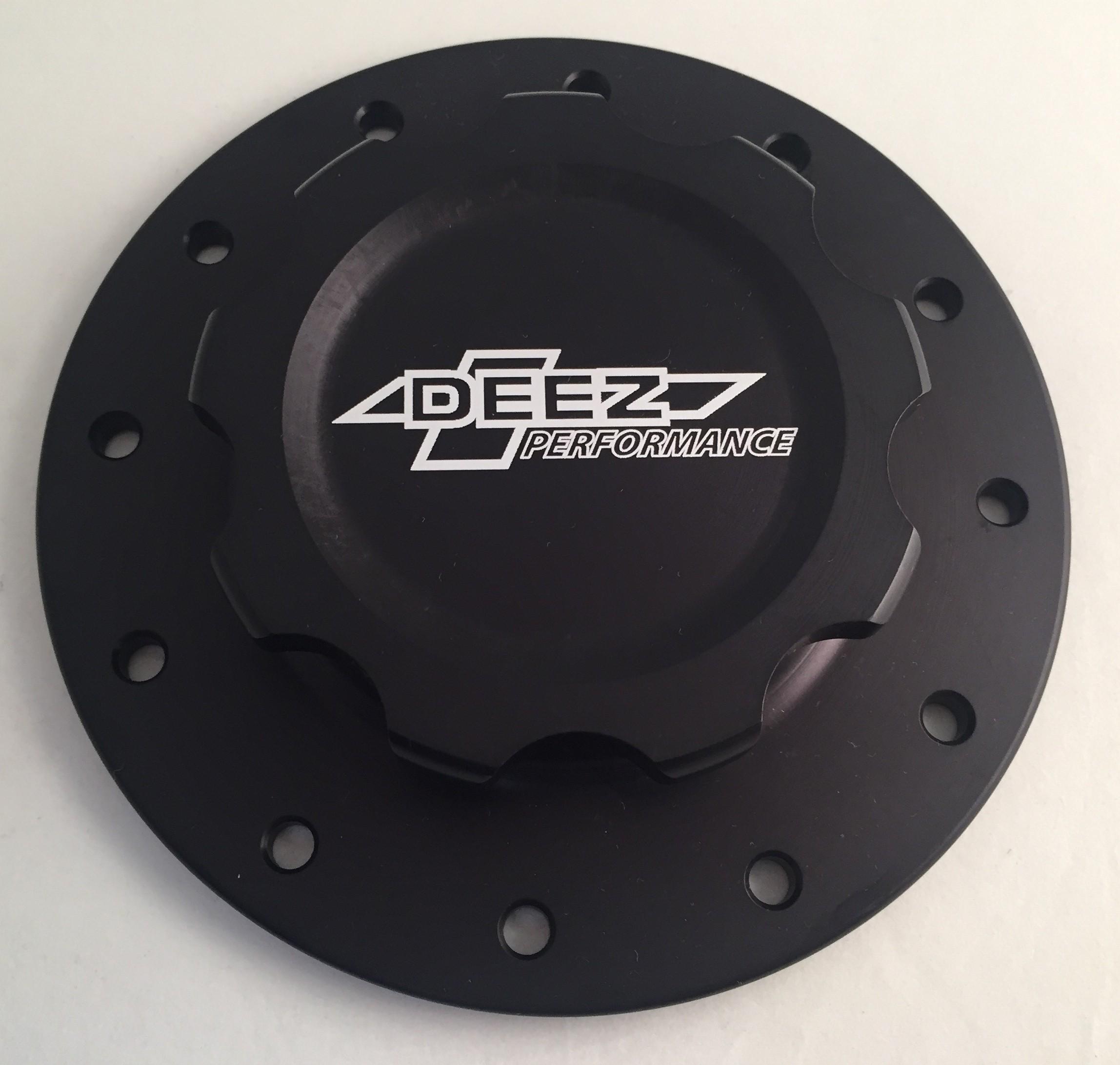 DEEZ Performance 12-Bolt Billet Aluminum Fuel Cell Cap & Bung Assembly-Clear
