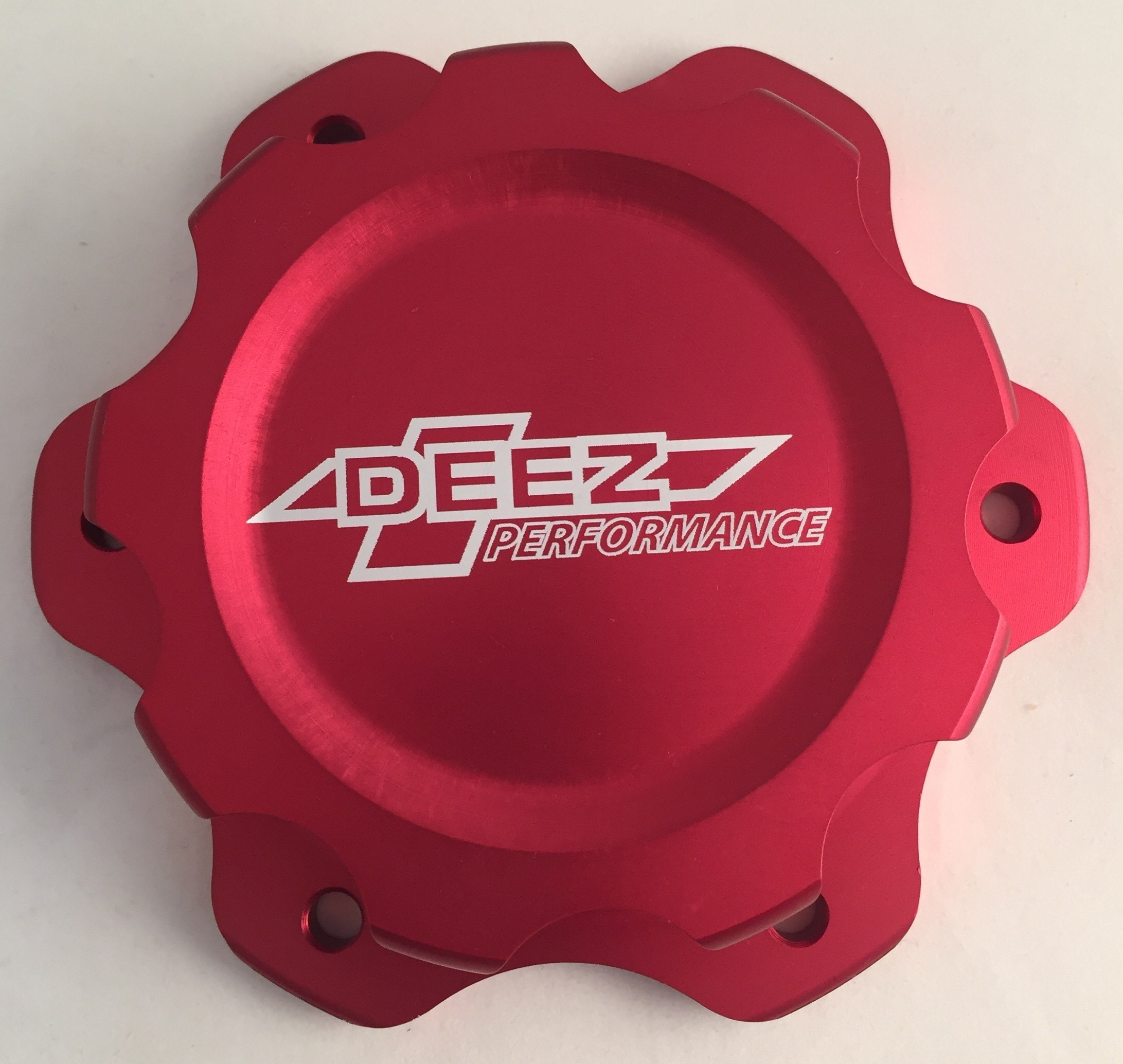 DEEZ Performance 6-Bolt Billet Aluminum Fuel Cell Cap & Bung Assembly-Red