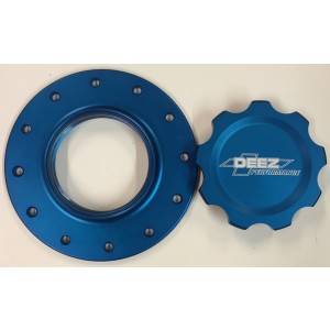 DEEZ Performance 12-Bolt Billet Fuel Cell Cap and Bung Assembly-Blue