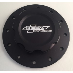DEEZ Performance Billet Aluminum Fuel Cell Cap and Bung Assembly-12 Bolt Black